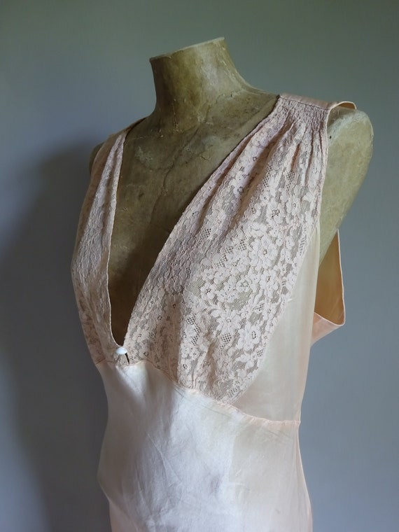 1930s SILK SATIN NIGHTDRESS-30s Silk Slip-1930s Sa