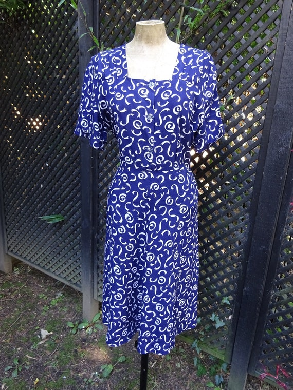 1940s COTTON DAY DRESS-40s Navy Blue and White Dre