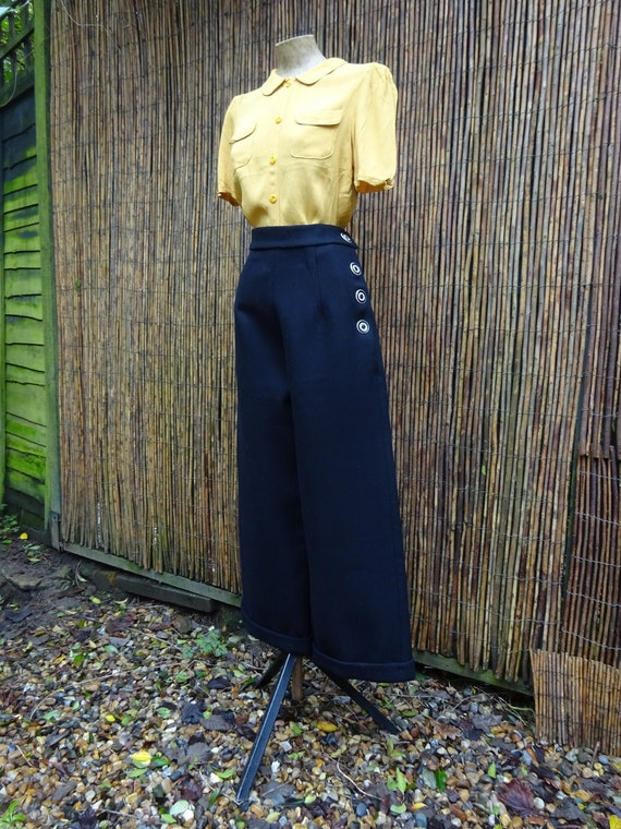 1940s TAILORMADE SWING TROUSERS-40s Wide Leg Trous