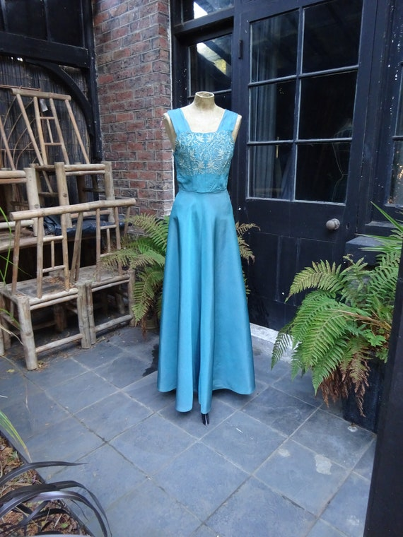 1950s TAFETTA EVENING GOWN-50s Long Party Gown-50s