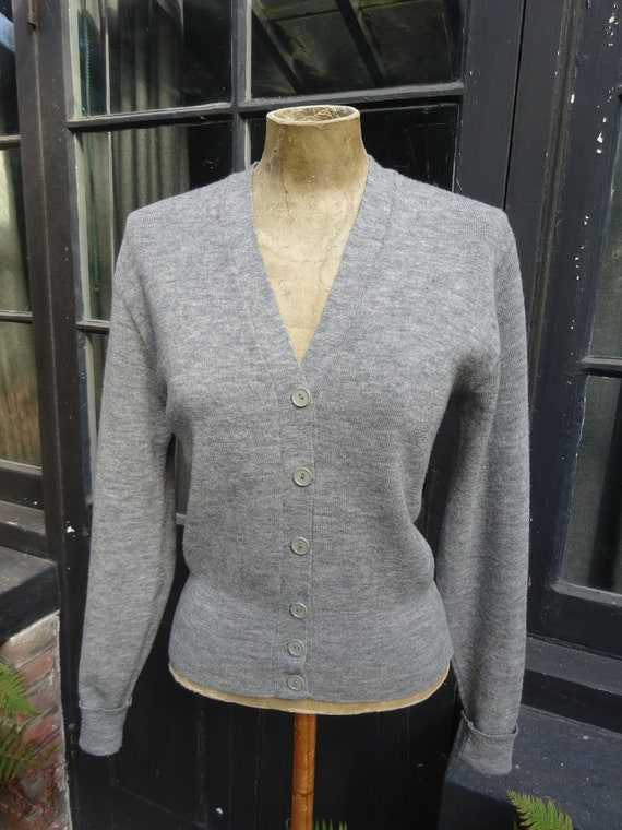 1940s ORIGINAL WOOLLEN CARDIGAN-40s knitted Cardig
