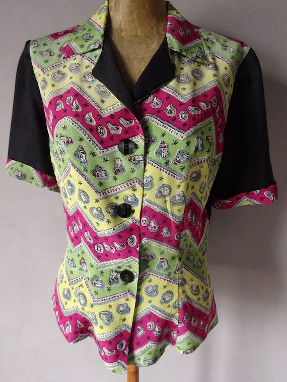 1940s CREPE and SILK BLOUSE-40s Original Novelty P