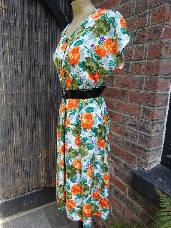 1950s COTTON SUN DRESS-50s Floral Dress-1950s Vint