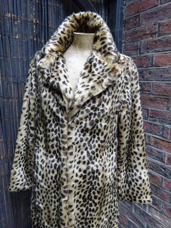 Vintage FAUX FUR COAT-Faux animal Print Coat-Leopa