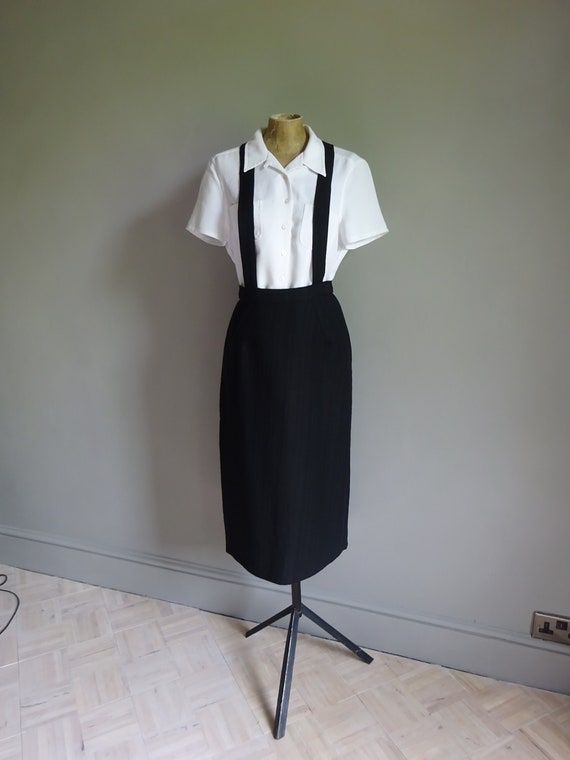 1940s SKIRT WITH BRACES-Unusual 40s Linen Skirt wi