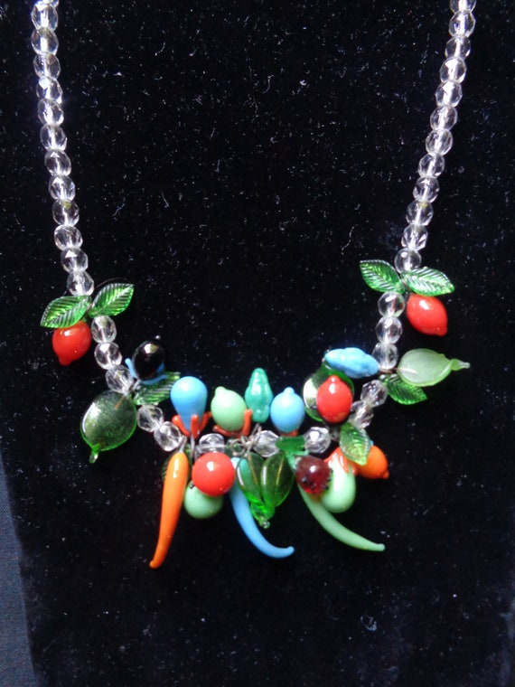VINTAGE 1950s MURANO NECKLACE-50s Venetian Glass F