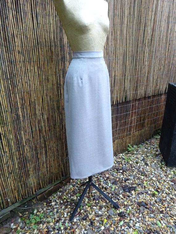 1940s TAILORMADE GABARDINE SKIRT-40s Grey Wool Gab