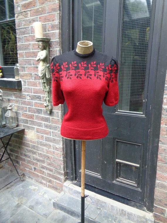 1940s HANDKNITTED WOOL SWEATER-One Off Custom Made