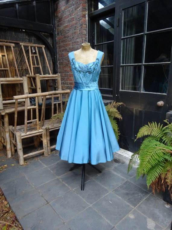 1950s Original TAFETTA PARTY GOWN-50s Beaded Ball