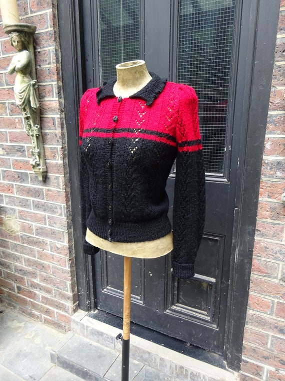 1940s CUSTOM MADE CARDIGAN-40s Black and Red Wooll