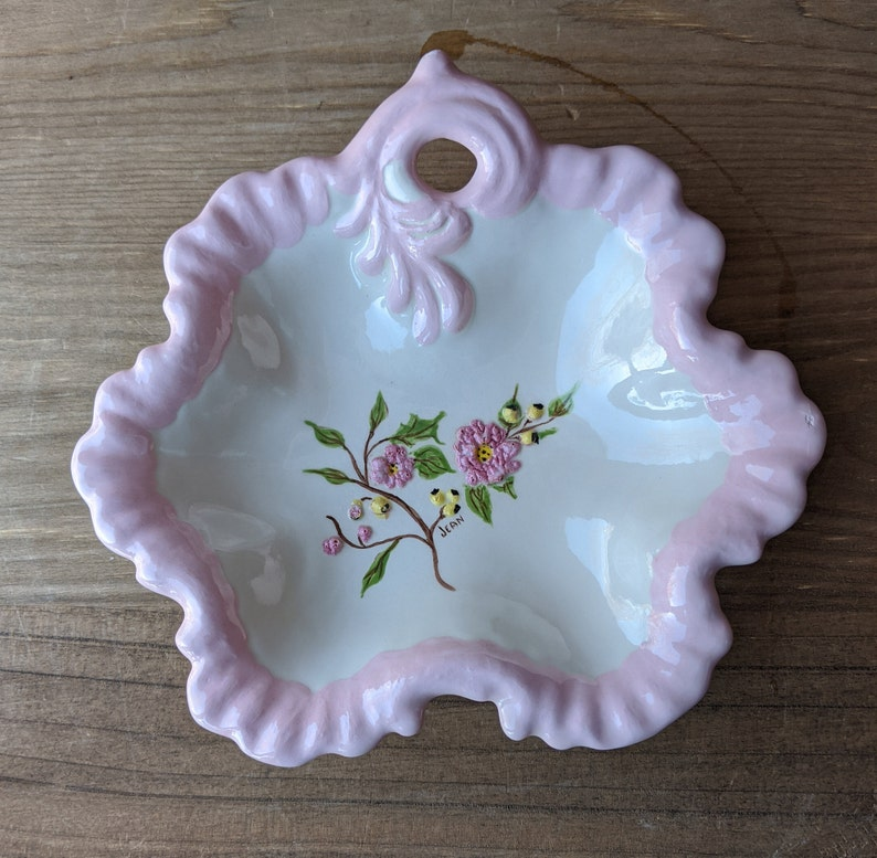 1980s Pink Floral Country Farmhouse Decor Shabby Chic Vintage Hand Painted CandyTrinketDecorative Ceramic Dish