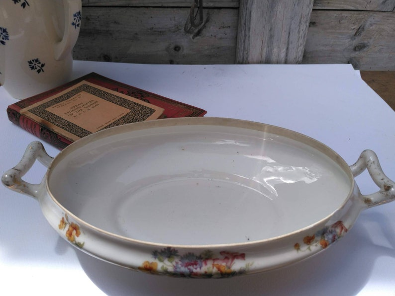 French antique tureen oval serving dish Limoges Elite shabby chic gift old vintage bowl shabby chic serving dish shabby chic tableware