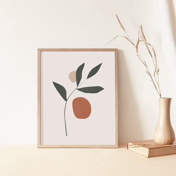 Leaf Art Print - Botanical Art Print, leaf Digital Print, Modern Minimalist Printable Art, Watercolor Botanical Poster