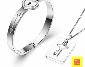 07a1fb0d5a Couple Jewellery Sets Stainless Steel Love Heart Lock Bracelets Bangles Key  Pendant Necklace Couples
