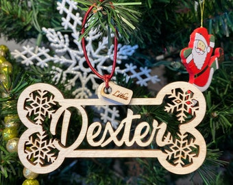 Pet Personalized name Christmas Ornaments, Holiday ornament pet, pet gifts, Cat, dog, laser cut, Personalized name with natural wood color