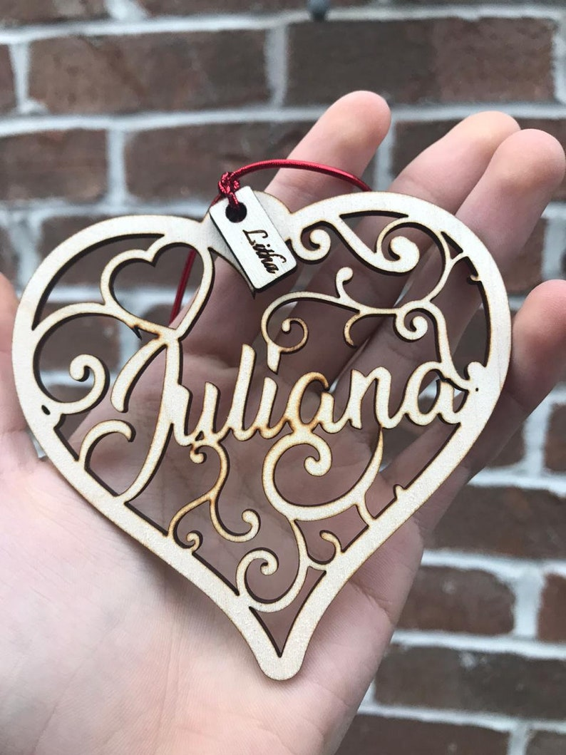 Personalise Valentine Gift heart wood cut Valentines Ornament gift for her gift for him