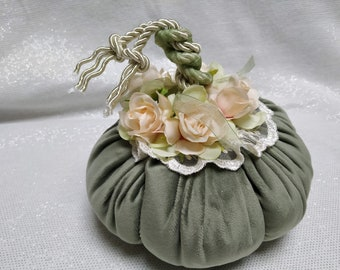 Green velvet fabric pumpkin. Thanksgiving and fall wedding decor and centerpieces accents.