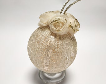 Hand-decorated gold Christmas ball 12 cm - plexiglass ball - Christmas tree decorations