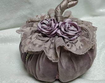 Pink velvet pumpkin with crystals and lace, thanksgiving gift, halloween 2021