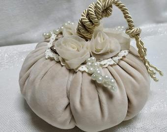 Ivory velvet pumpkins, Fall decor, Thanksgiving Centerpiece