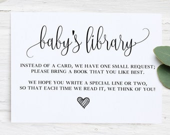 photo regarding Bring a Book Baby Shower Insert Free Printable referred to as Child shower incorporate Etsy