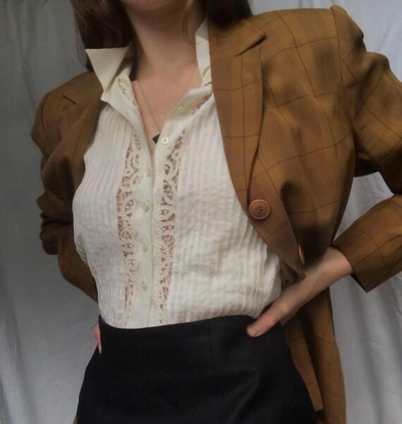 Vintage 90s pure silk plaid blazer