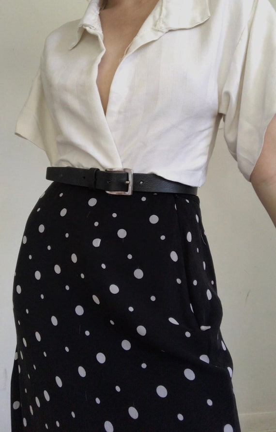 Vintage pure silk polka dot skirt