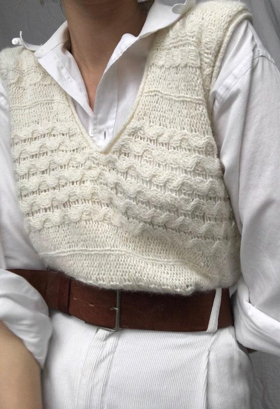 Vintage angora knit sweater vest