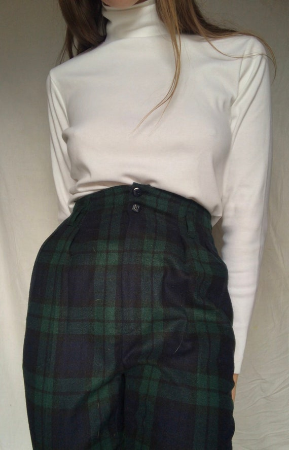 Vintage high waisted plaid wool pants