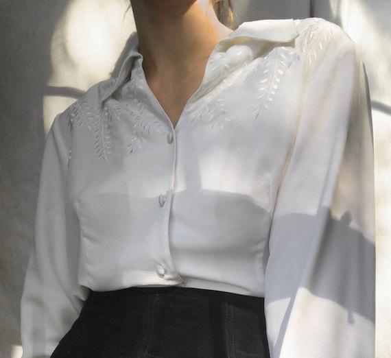 Vintage satin embroidered blouse
