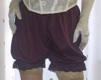 Vintage inspired black silky nylon frilly bloomer french knickers pettipants