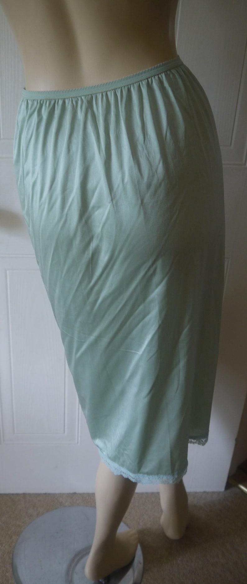 Vintage St Michael silky nylon green half slip underskirt waist slip petticoat size 10~12