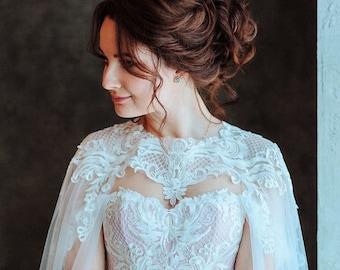 d6e8e2d24fab A-line wedding dress with cape, bridal gown with cape, wedding dress with  corset.