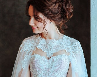 24a2fc7f1590 A-line wedding dress with cape, bridal gown with cape, wedding dress with  corset.