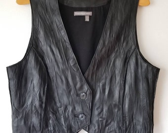 cfe52c9d6 The Perfect vintage Leather vest, boho leather vest, minimalist Sleeveless  leather vest, Women black leather Bolero, rocker vest, Size LARGE