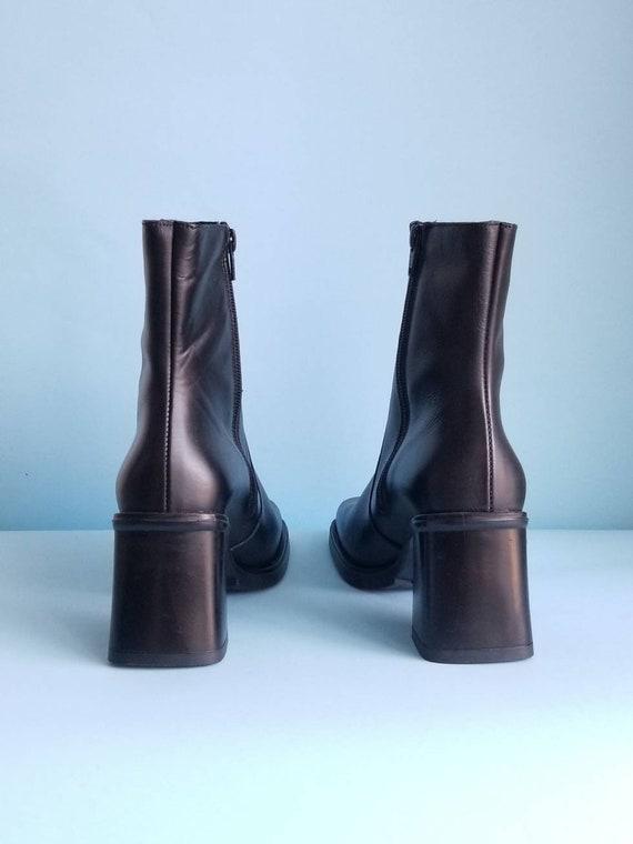 90s Boots, Minimalist Black Vegan Leather Boots, … - image 4