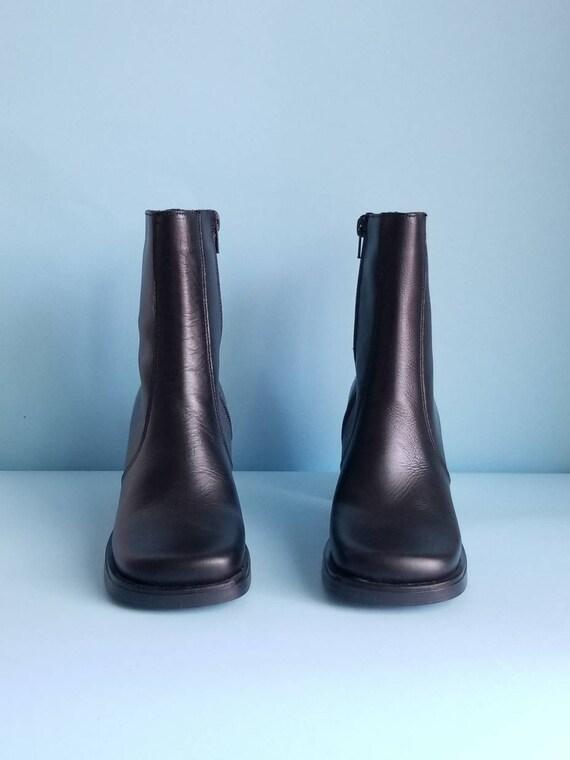 90s Boots, Minimalist Black Vegan Leather Boots, … - image 2