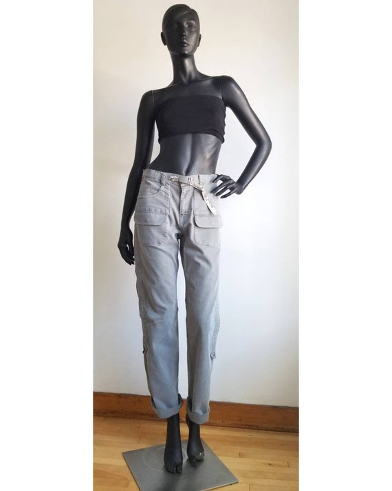 Y2k Mid Waist Pants Grey Cargo Pants Cotton Pants