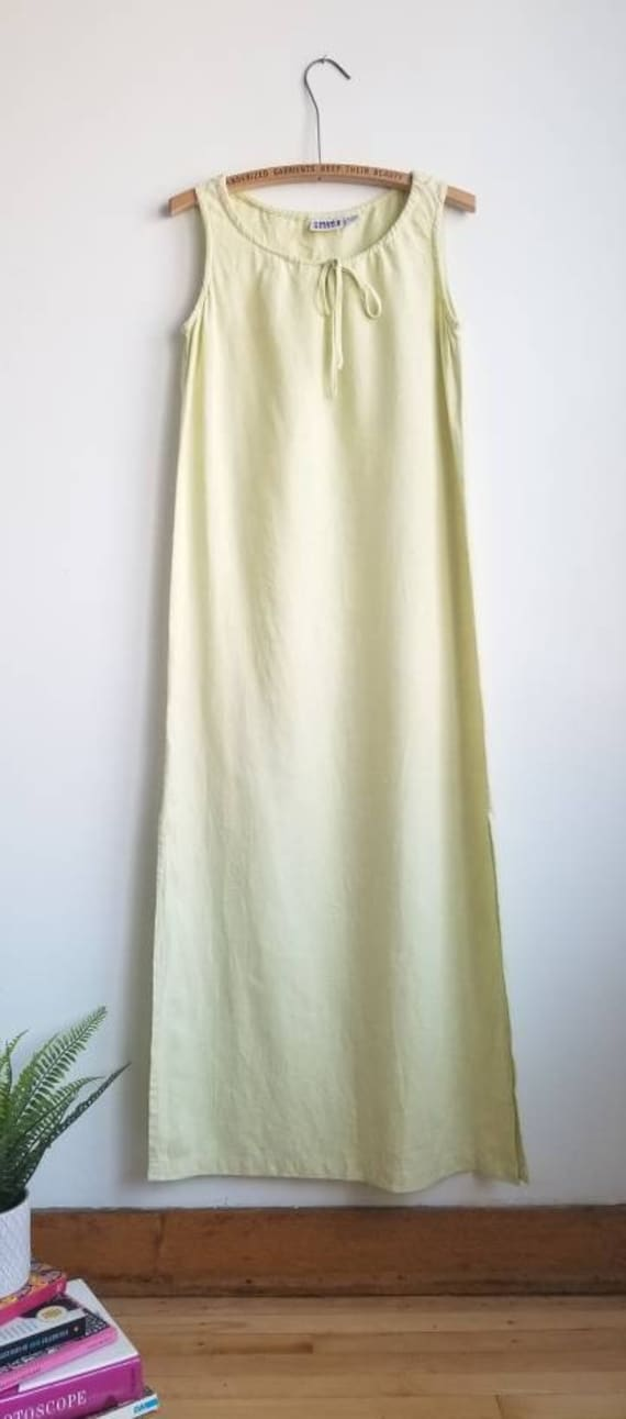 Linen Dress, 90s Maxi Dress, Chartreuse Linen Dres
