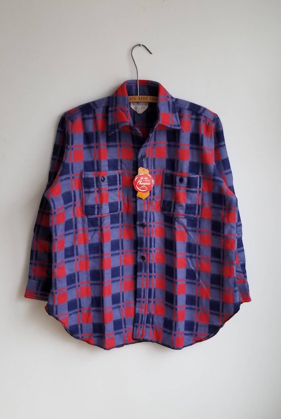 15, Blue Plaid Flannel Shirt, Champion Flannel Shi