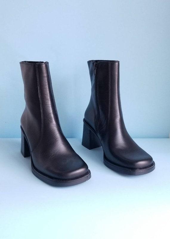 90s Boots, Minimalist Black Vegan Leather Boots, … - image 1