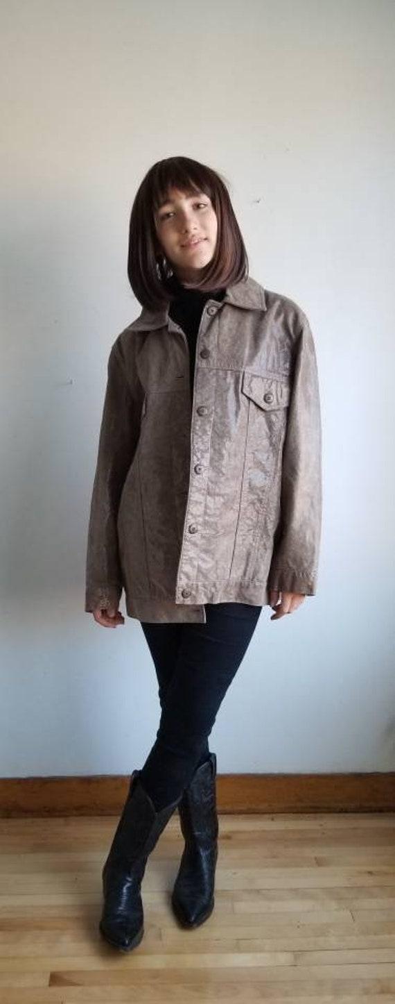 90s Leather jacket, Nude leather jacket,  Women le