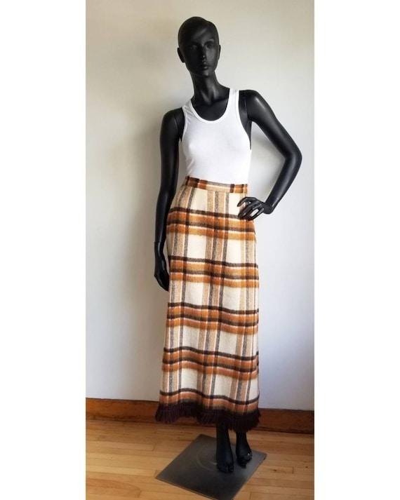 70s Wool Maxi Skirt, Hippie Skirt, Handmade Wool … - image 1