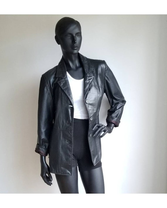 70s Leather Jacket, Black Leather Jacket, Button u