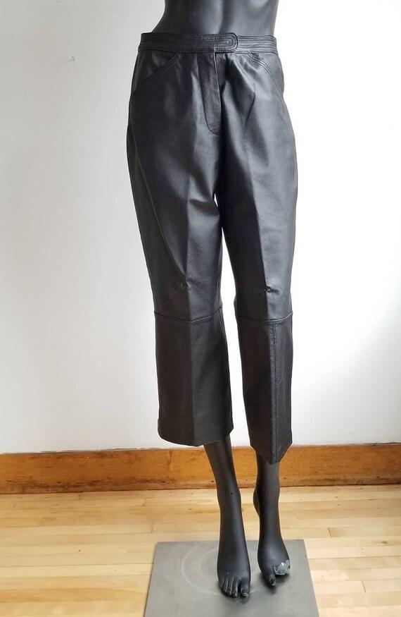Highwaisted Leather Pants, Crop Pants, Black Leath