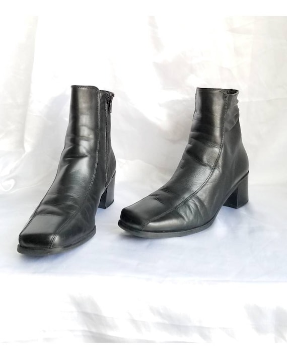 Y2k Black Leather Boots Grunge Minimalist Square T