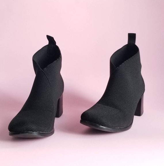 Y2k Ankle Booties, Socks Boots, Black Ankle Boots,