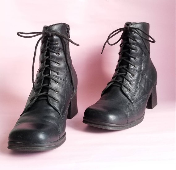 90s Chunky Heels Boots, Women Zip Up Boots, Square