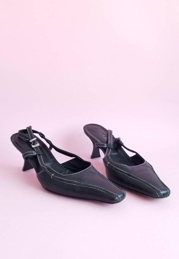 Y2k Kitten Heels, Spring Shoes, 2000s Black Leathe