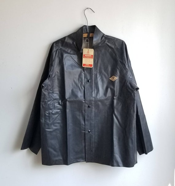 Kaufman Raincoat, 90s Fisherman Rubber Jacket, Wor